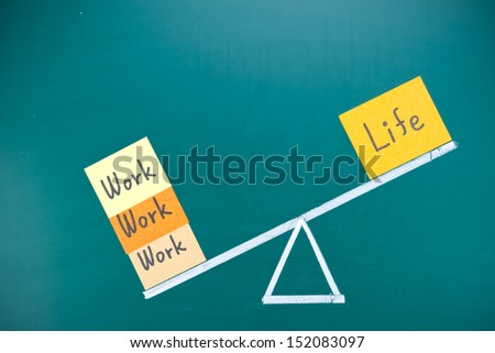 Work and life imbalance concept, words and drawing on blackboard - stock photo