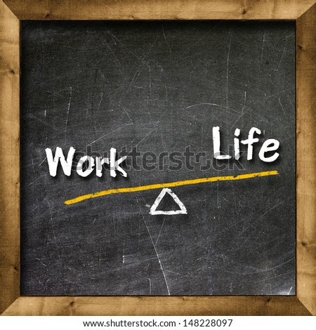 Work and Life of your choice written with white chalk on a blackboard                      - stock photo