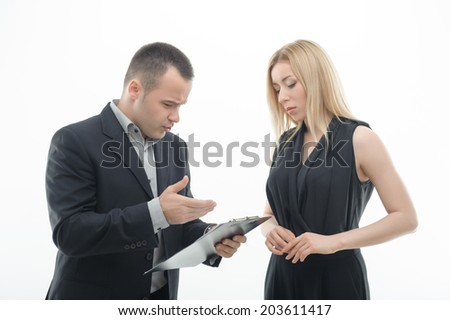 Work Colleagues arguing, man shouting on woman, isolated on white background - stock photo