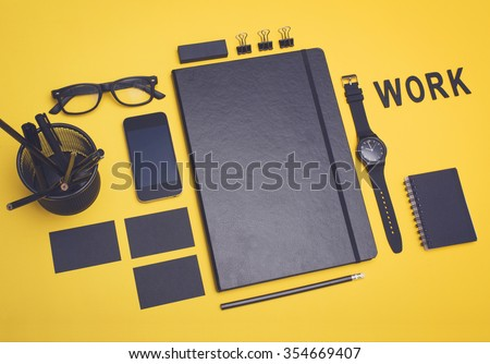 Work concept. Office items design mockup. - stock photo