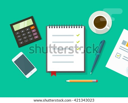 Work desk illustration on green background, business office workplace table concept, flat modern desktop with devices, notebook to do list, organizer, paper work, planning flat cartoon design image - stock photo