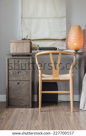 work desk in bedroom at home - stock photo