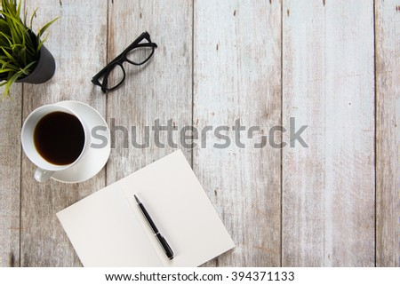 work desk with coffee concept photo - stock photo