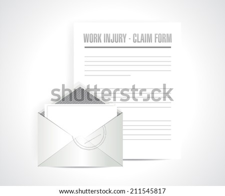 work injury claim form documents paper illustration design over a white background - stock photo