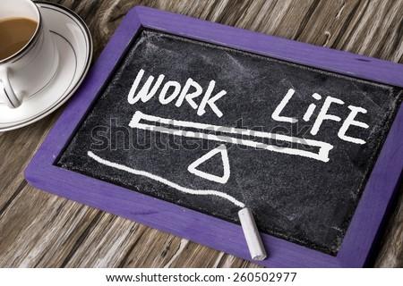 work life balance hand-drawn on blackboard - stock photo
