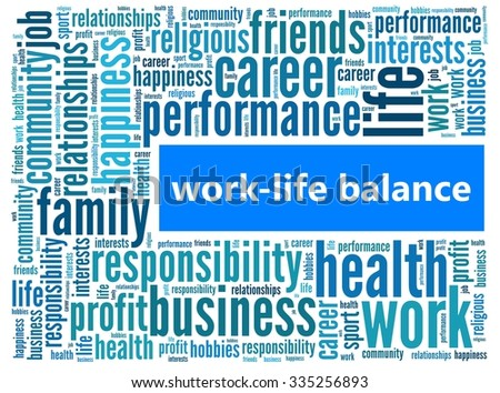 Work-life balance in word collage - stock photo