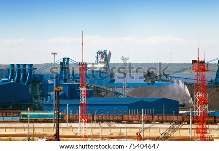 Work of new sea trading port of the Ust-Luga. Russia. The coal terminal. - stock photo