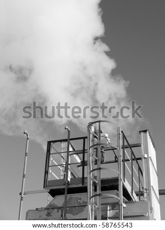 Work of oil refinery center. Industrial equipment. Black and white photo - stock photo