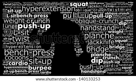 Work out concept in word collage - stock photo