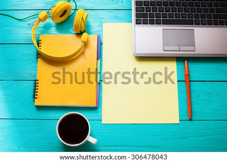 Work place on wooden table. Top view - stock photo