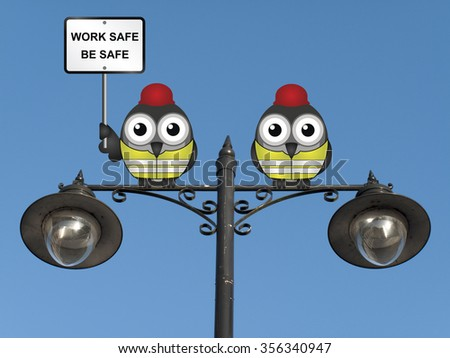 Work safe be safe health and safety message with construction worker birds wearing personal protection equipement perched on a lamppost against a clear blue sky - stock photo