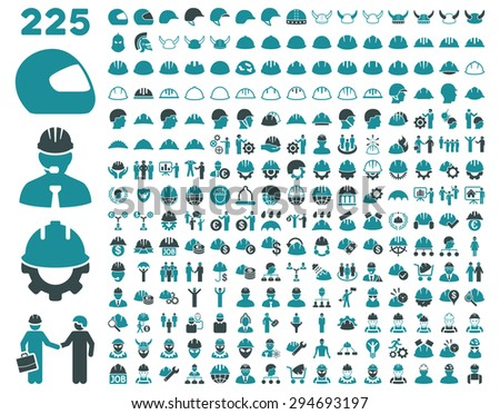 Work Safety and Helmet Icon Set. These flat bicolor icons use soft blue colors. Glyph images are isolated on a white background.  - stock photo