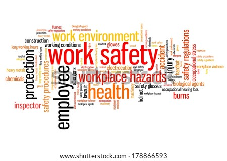 Work safety issues and concepts word cloud illustration. Word collage concept. - stock photo