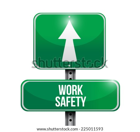 work safety street sign illustration design over a white background - stock photo