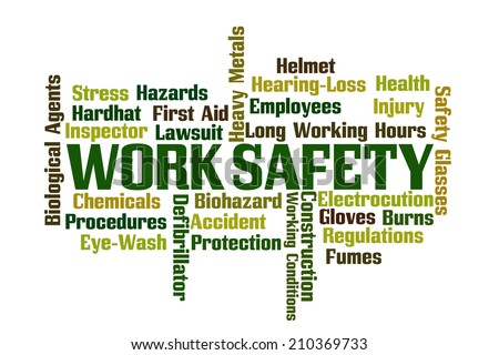 Work Safety word cloud on white background - stock photo