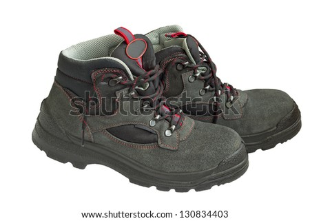 Work shoes isolated on white background - stock photo