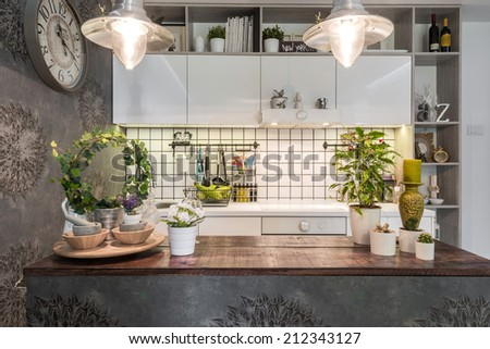 Work surfaces in the kitchen interior - stock photo