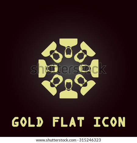 Work team concept. Gold flat icon. Symbol for web and mobile applications for use as logo, pictogram, infographic element - stock photo