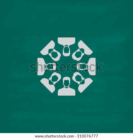 Work team concept.  Icon. Imitation draw with white chalk on green chalkboard. Flat Pictogram and School board background. Illustration symbol - stock photo