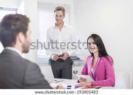 work-team in meeting at office - stock photo