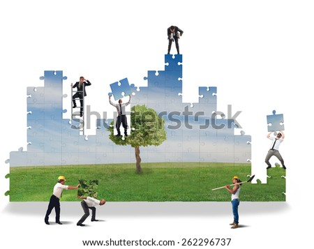 Work together to build a clean world - stock photo
