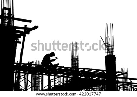 Worker black silhouette in construction site on white background - stock photo