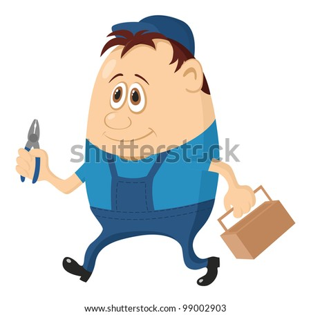 Worker, cartoon character, man in blue uniform and cap with pliers and toolbox - stock photo