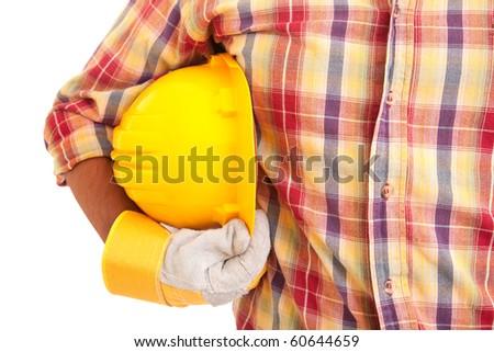 Worker holding helmet, isolated over white - stock photo