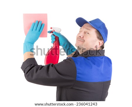 Worker holding spray bottle. Isolated on a white background. - stock photo