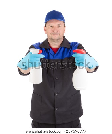 Worker holding spray bottles. Isolated on a white background. - stock photo