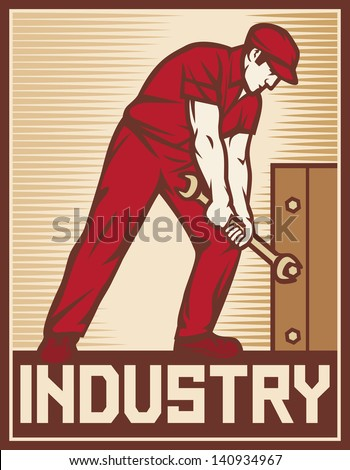 worker holding wrench - industry poster (industry design, worker holding a spanner, construction worker, poster for labor day, male worker with wrench tool) - stock photo