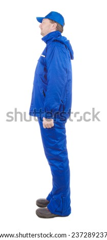 Worker in blue coat. Isolated on a white background.  - stock photo