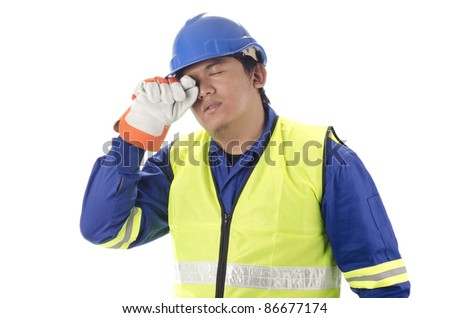 Worker in drowsy and exhaustion - stock photo