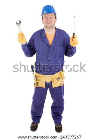 Worker in hard hat holding wrench and screwdriver. Isolated on a white background. - stock photo