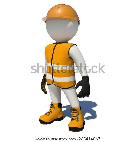 Worker in orange overalls. Isolated render on white background - stock photo