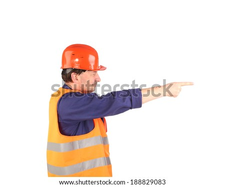 Worker in reflective coat. Isolated on a white background. - stock photo