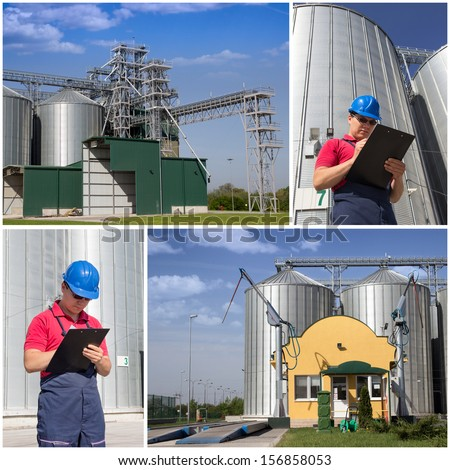 Worker in silo company. Collage of photos. - stock photo