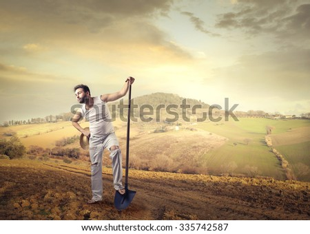 Worker in the countryside - stock photo