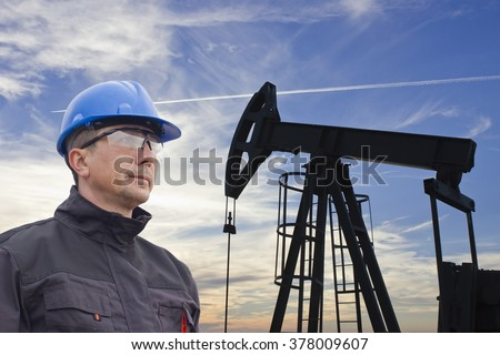 worker in the oil industry  - stock photo