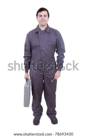 worker in uniform with the tool box - stock photo
