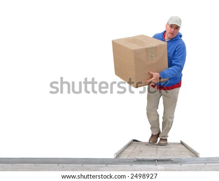 Worker loading a van, isolated on white - stock photo