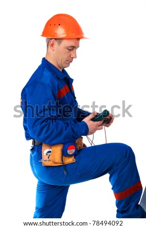 Worker man in workwear against white - stock photo