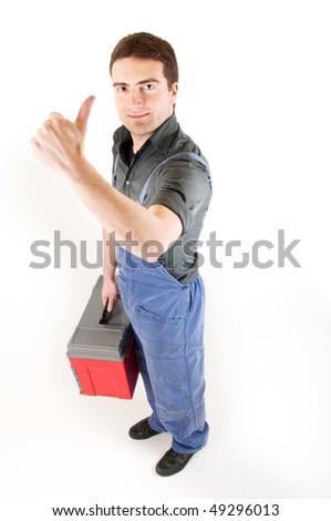 worker ok white background - stock photo