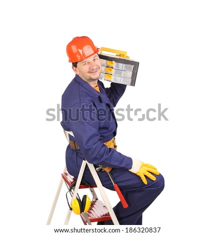 Worker on ladder holding toolbox. Isolated on a white background. - stock photo