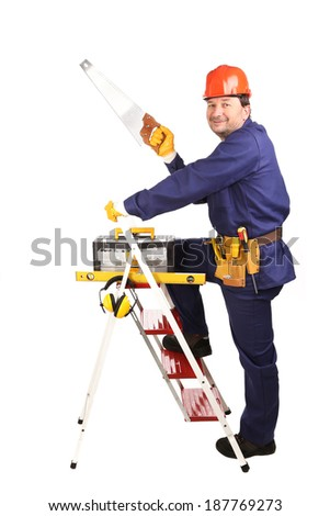 Worker on ladder with saw. Isolated on a white background. - stock photo