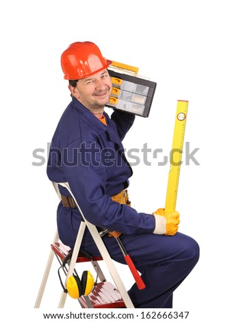 Worker on ladder with tool and toolbox.  Isolated on a white background. - stock photo