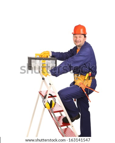 Worker on ladder with toolbox. Isolated on a white background. - stock photo