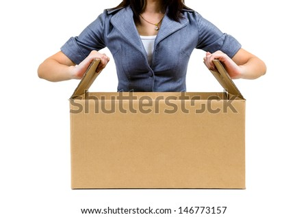 Worker open cardboard box isolated on white background - stock photo