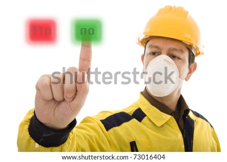 Worker pressing the On button - stock photo