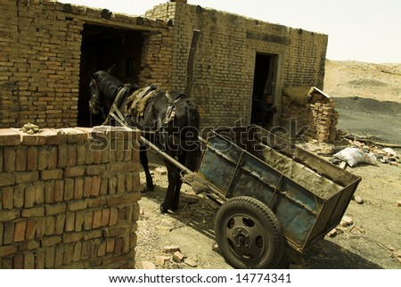 Worker's room in Wuda Coal Fires in China - stock photo